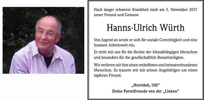 Foto und Todesanzeige Ulli Würth